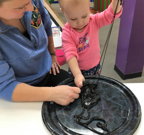 Everyone loves slime-even the littlest at the museum during weekly programming.